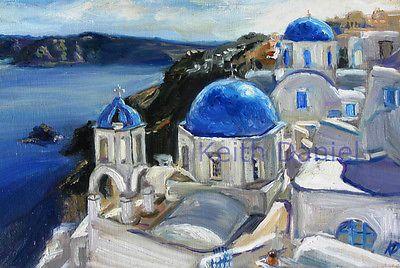 Greece Santorini III- original oil painting print Keith Daniel