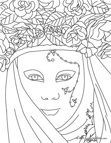Venetian masks coloring pages