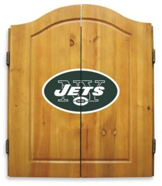 $143.99 - NFL New York Jets Complete Dart Cabinet Set - This NFL Complete Dart Cabinet Set is a great addition to your man cave or sports room. This solid pine cabinet comes with 6 steel darts with plastic flights, an 18-inch, all-natural bristle dart board, interior scoreboard, chalk, and an eraser.