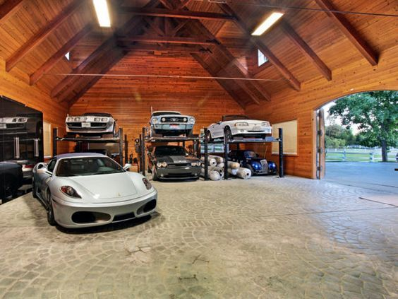 33 best residential custom dream garage images on for Log cabin style garages