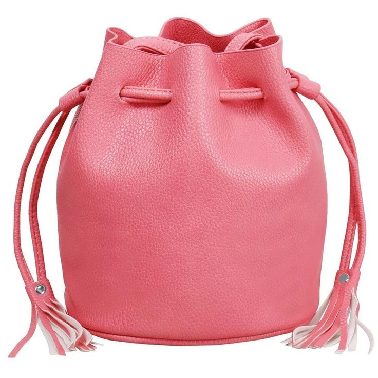 BMC Womens Textured Faux Leather Drawstring Style Cinch Sack Mini Handbag New #bmc #TickleMePink