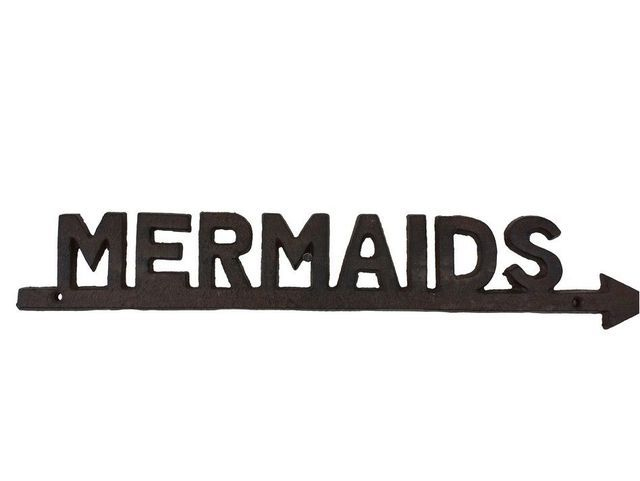 """Rustic Cast Iron Mermaids Sign 19"""" from Handcrafted Model Ships - In stock and ready to ship"""