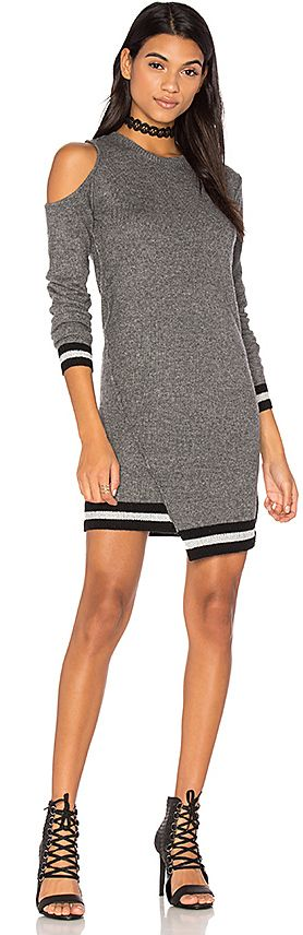 Pam & Gela Cold Shoulder Dress in Gray. - size S (also in XS)