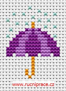 Umbrella, free cross stitch patterns and charts - www.free-cross-stitch.rucniprace.cz