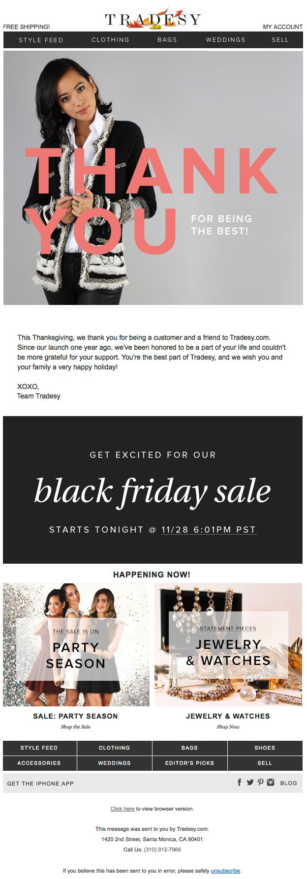 """Tradesy - Thanksgiving / Black Friday email - 11/28/13 - """"Our Message to You on Thanksgiving"""""""
