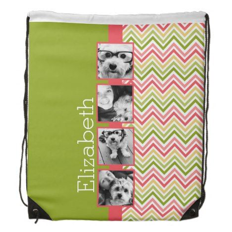 Custom 4 Photo Collage Lime and Coral Chevrons Drawstring Backpack #chevron #pattern #accessories