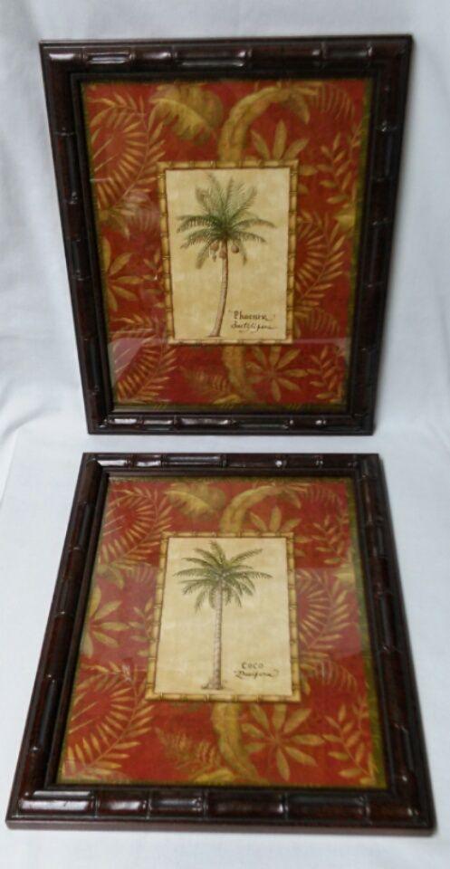 framed palm tree prints set of 2 retired
