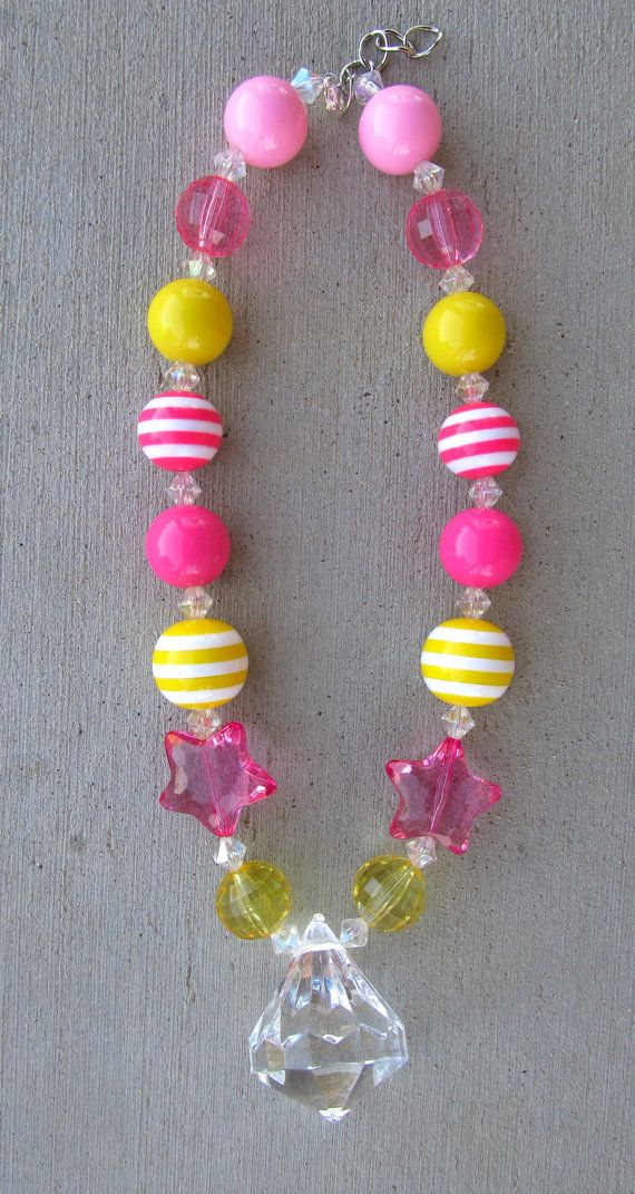 Pink Lemonade Chunky Bubblegum Necklace! My new obsession!! Making Chunky bubblegum necklaces!! :) I only make them for my girls but soon will be selling them in my shop! :)