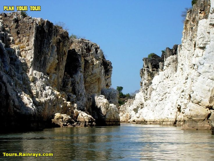 The Marble Rocks located near Jabalpur MP India are a canyon or gorge on Narmada River in MP where the river narrows to a width of 10 meters and carves through a large area of white marble, creating a beautiful gorge of about 3 km in length.