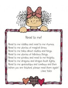 Aimed at parents of school kids, as hand out by the teacher, but lots of cool handouts about developmental progress and ways to work with it. Also a super cute poem about reading to kids. Want to print it and put it in my notebook!