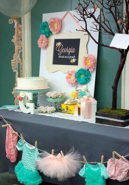 Georgia peach baby shower idea mint and coral