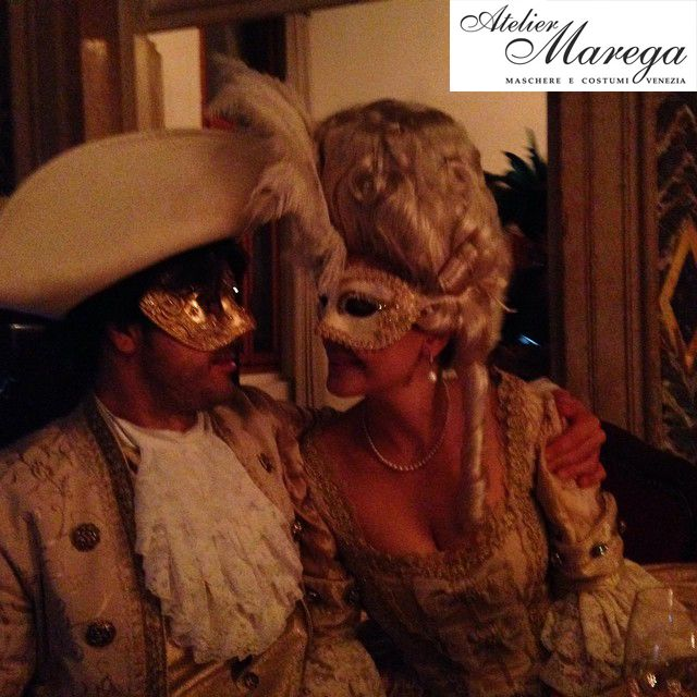 A very nice and elegant couple dressed with our costumes and accessories in Venice www.marega.it