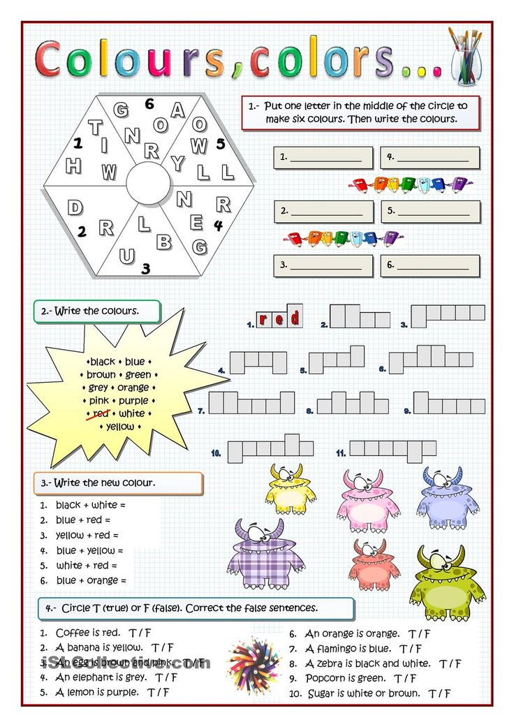 COLOURS Varied exercises for weak learners. ESL worksheet