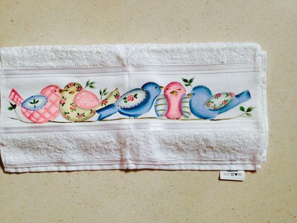 Toalha de mão e visita | Oficina Lu Bonato atelie de pintura | Elo7