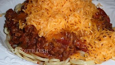 Chili Spaghetti - Homemade Stovetop Beef Chili with Beans. It's really good - try it!!