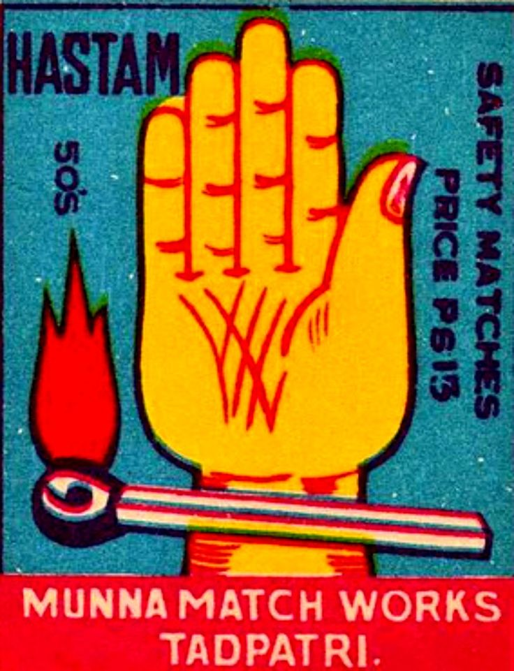 vintage match box label