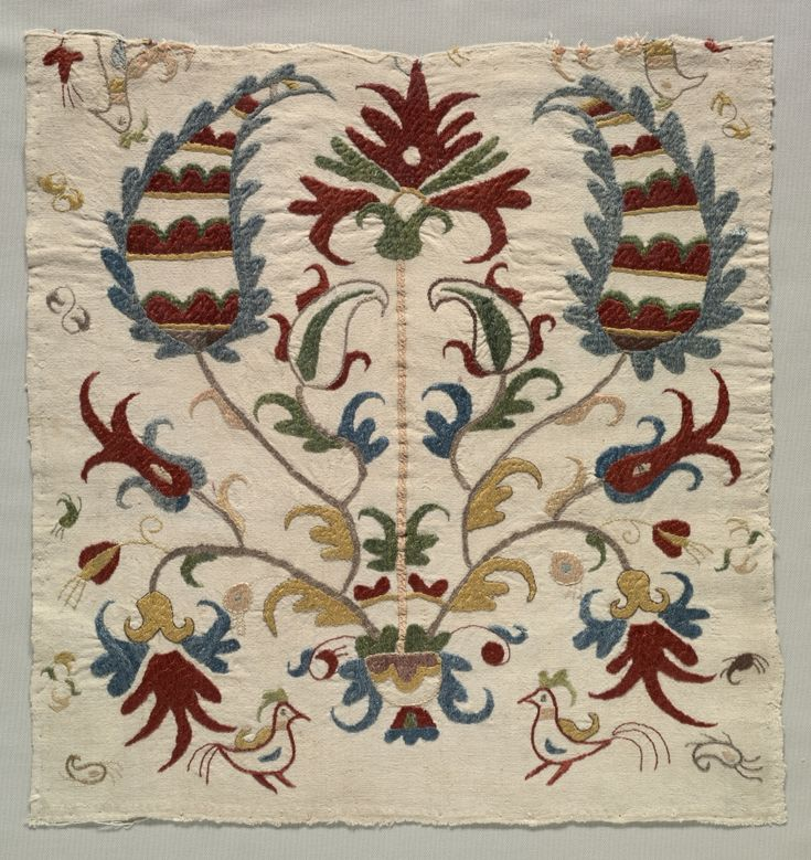 Fragment of Pillow Cover or Panel of Bedspread, 1800s Greece, Sporades Islands, Skyros, 19th century embroidery: silk on linen tabby ground. http://www.clevelandart.org/