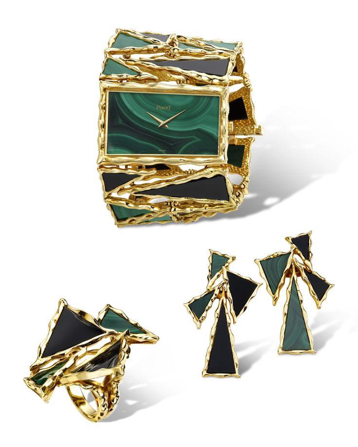 Beautiful malachite & onyx Piaget watch set.