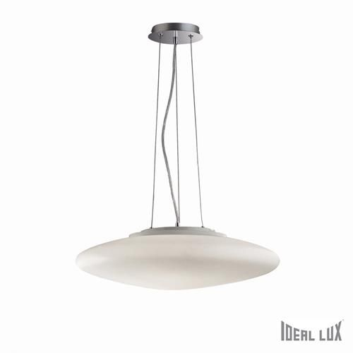 Ideal Lux 032009 Smarties Bianco SP3 Polished Chrome & White Blown Frosted Glass Shade 3 Lamp Single Pendant Ceiling Light 500mm (Ideal Lux Lighting 032009) - discounthomelighting