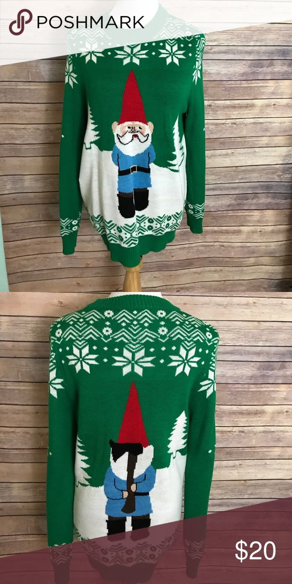 Funny ugly Christmas sweater Only worn once! I would suggest a man size medium wear this even though the tag says large. Shrunk when we washed it! tipsy elves Sweaters