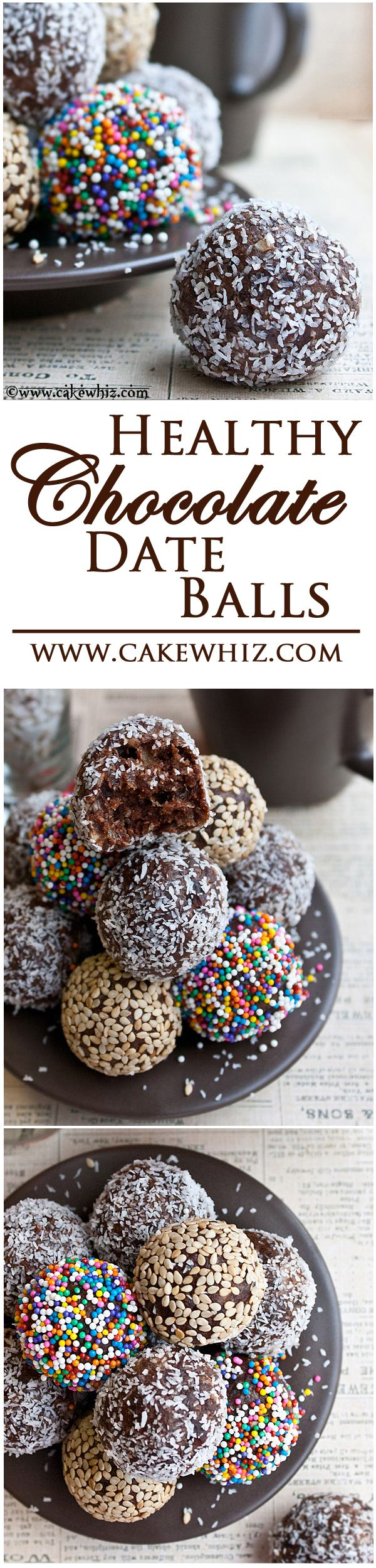 FUDGY CHOCOLATE DATE BALLS covered in sprinkles, toasted sesame seeds and shredded coconut. These bite-sized energy balls are healthy, vegan and gluten free!
