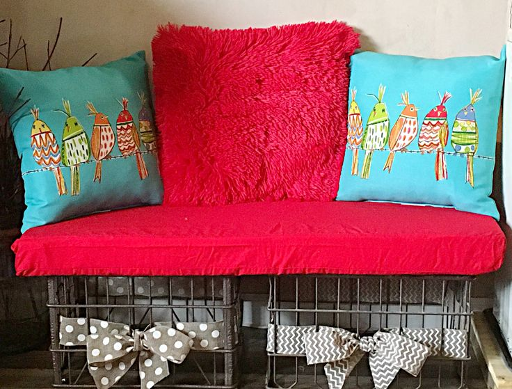Diy vintage metal crate bench with cushion and pillows