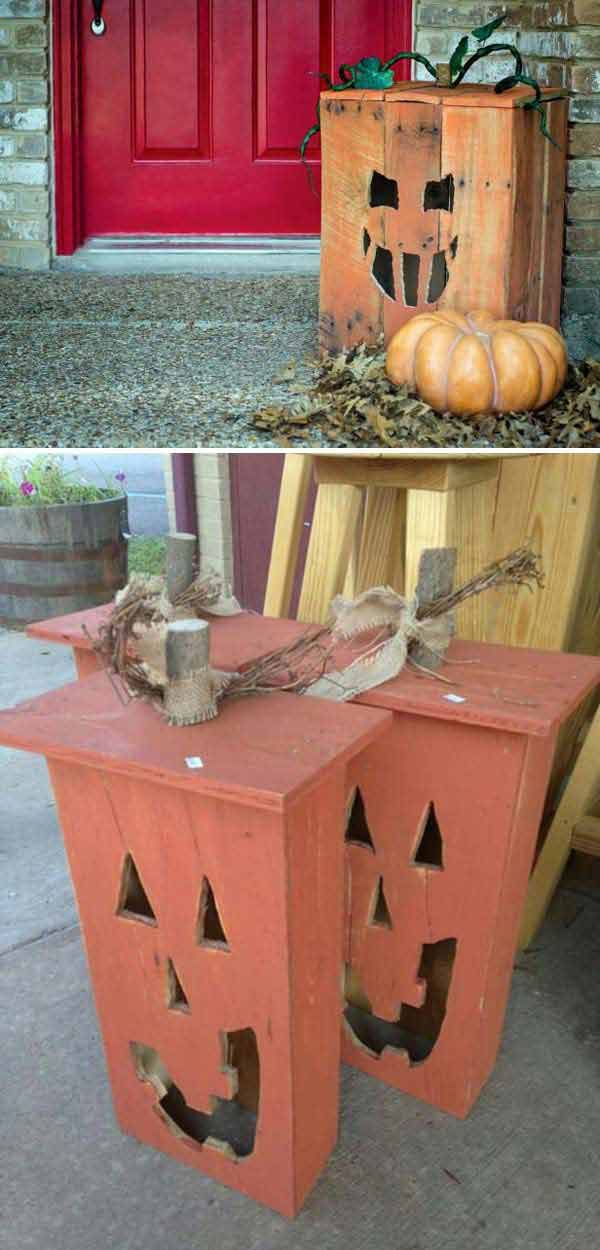 Jack o lanterns made out of old drawers or Turn a Wood Pallet Into a Halloween Jack-O'-Lantern.