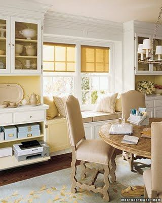 Girly office. :)Dining Rooms, Built In, Offices Spaces, Windows Seats, Diningroom, Dining Room Offices, Martha Stewart, Window Seats, Home Offices