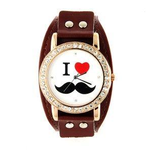 """Belle montre originale """"I <3 Moustache"""" avec un bracelet de force brun. Existe aussi en rouge et en blanc"""
