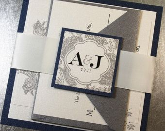I like this Midnight Blue Silver Wedding Invitation Suite with Ribbon Belly Band