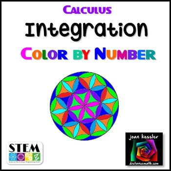 Even big kids love coloring. This fun, engaging activity includes twenty review questions on  definite integration. Problems include substitution, trig functions, inverse trig functions, exponentials, and two area questions.