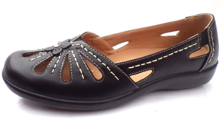 size 3 NEW LADIES WEDGE SHOES CUSHION WALK BLACK SLIP ON PUMPS ON CASUAL 16474 | eBay