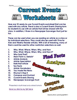 Here are 14 Ready to Use Current Events Activities. There are 12 Current Events worksheet and graphic organizers that can be used with any article....