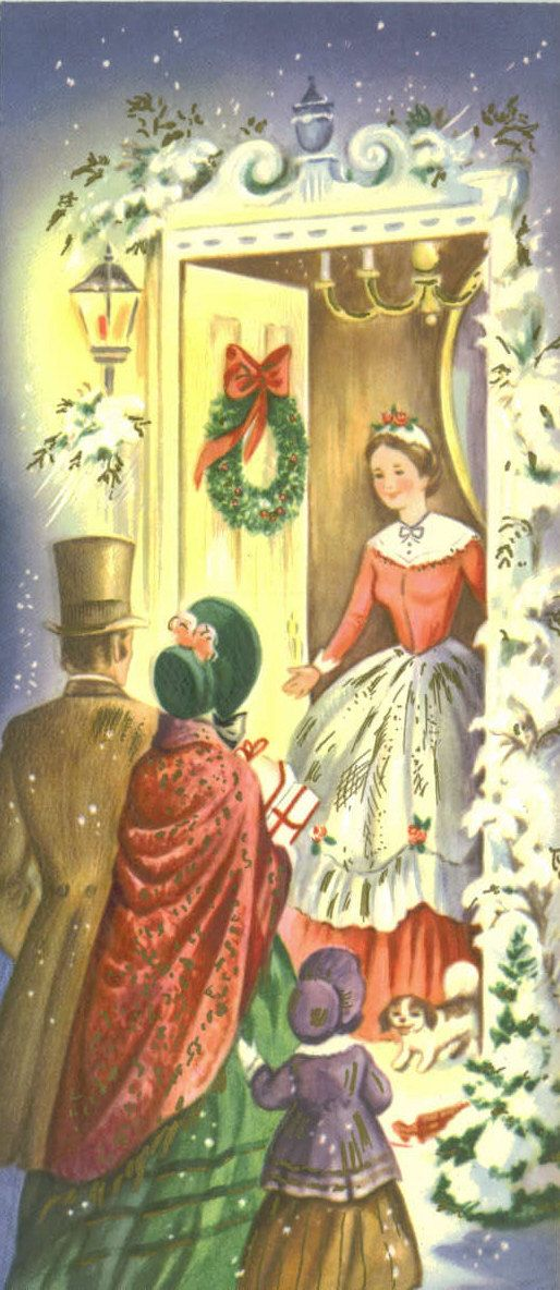 Vintage Christmas Card, Unused, Warm Holiday Gathering