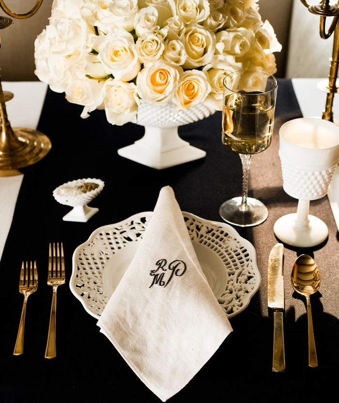 Black White And Gold Table Setting By Eddie Ross Art