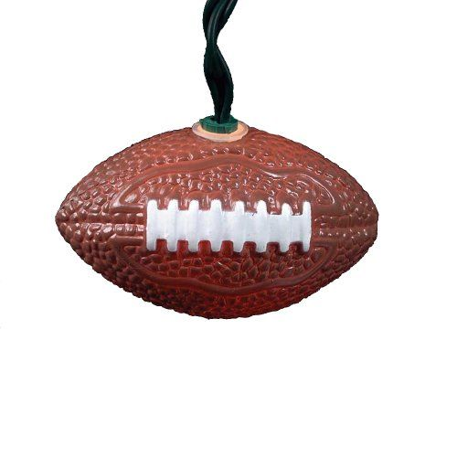 #wow This novelty light set features 10 football lights with 30-inch lead wire, 12-inch spacing, green wire and clear bulbs. This #light set includes 4 spare bul...