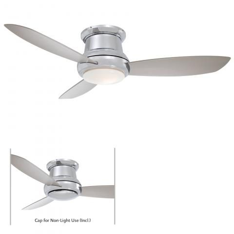 "Concept™ II - 44"" Flush Mount Ceiling Fan - 44"" 3 Blades in Polished Nickel Finish w/Silver Blades w/White Opal Glass"