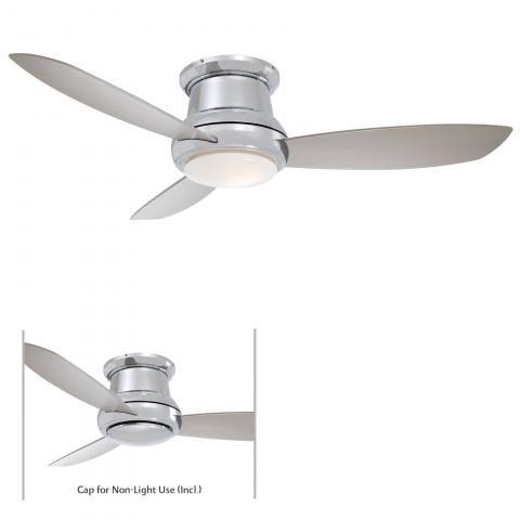 "Concept™ II - 44"" Flush Mount Ceiling Fan - 44"" 3 Blades in Polished Nickel Finish w/Silver Blades w/White Opal Glass"
