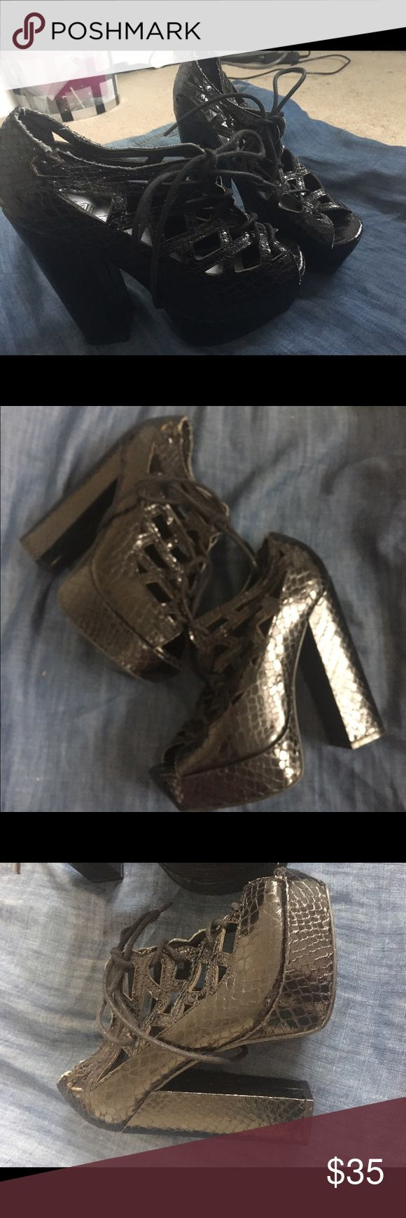 Black cutout strapon platform sandals with ties Super cute got at a discount from Macy's because of the slightly frayed strap but normally priced 85, got it for 45 and giving it to you for cheap ☺️. Has cute snakeskin print MIA Shoes Platforms