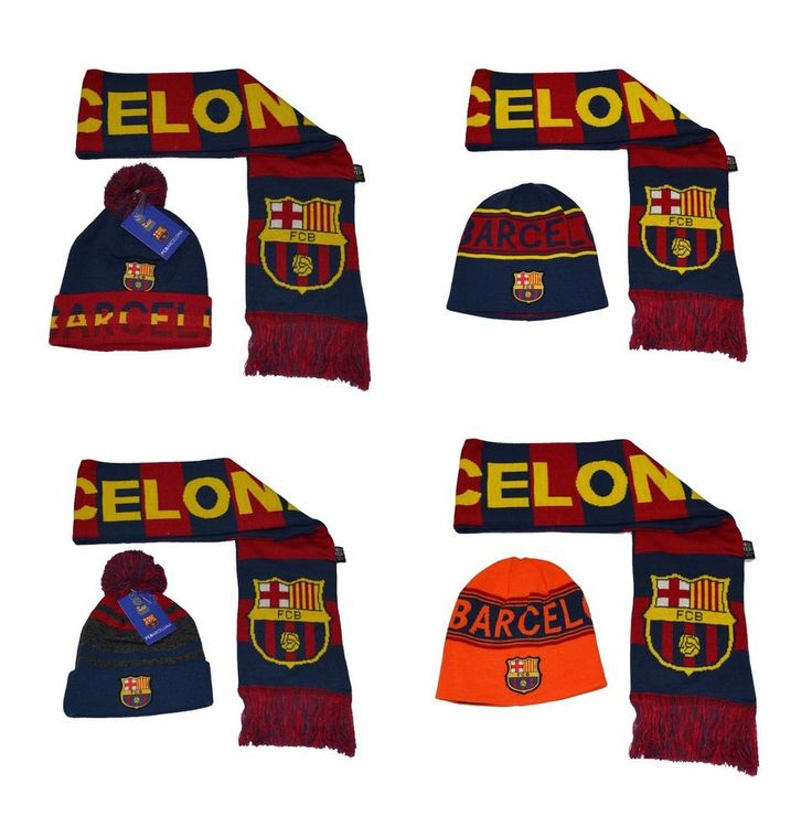FC Barcelona Scarf Reversible and Beanie hat Cap Soccer Official Merchandise #Rhinox #FCBarcelona
