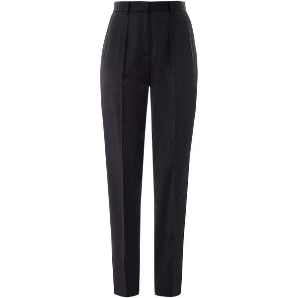 JASON WU Tuxedo satin-trim trousers (4490015 BYR) ❤ liked on Polyvore featuring pants, bottoms, trousers, jeans, black, slim tuxedo pants, black tuxedo, tuxedo pants, slim fit pants and highwaisted pants