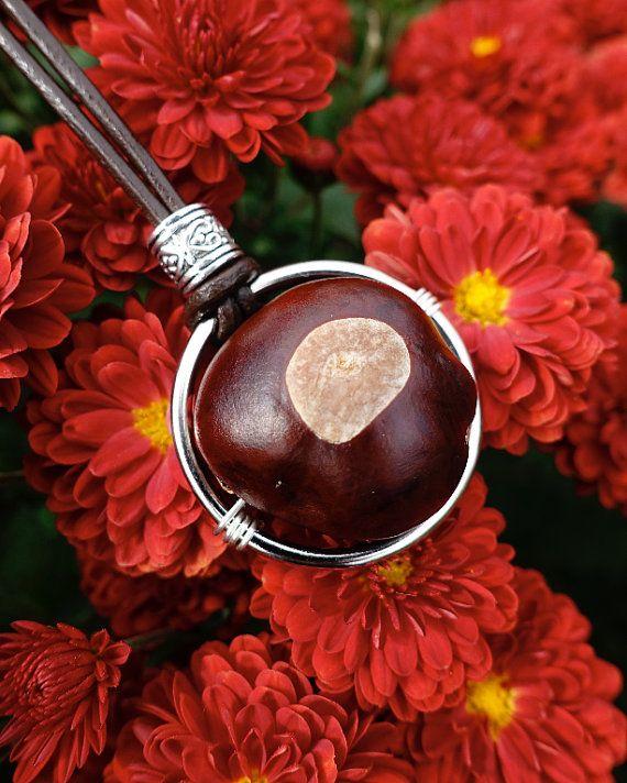 Ohio Buckeye Necklace Brown Leather Cord Buckeye Football