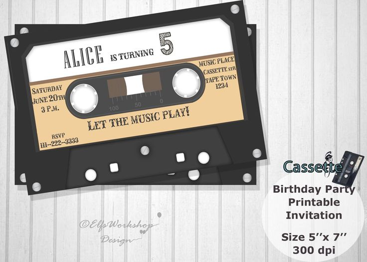 Cassette invitation, Cassette birthday invitation, Music tape party, Retro cassette invite, 80' birthday party, Printable , Personalized by ElfsWorkshopDesign on Etsy