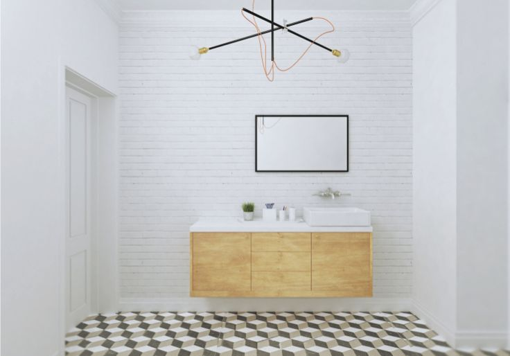 visualisation of bathroom, geometric tiles, white brick, a lot of inspirations of scandinavian design