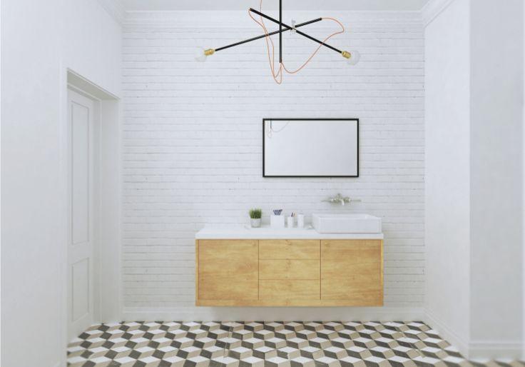 visualisation of bathroom, geometric tiles, white brick, a lot of inspirations of scandinavian design