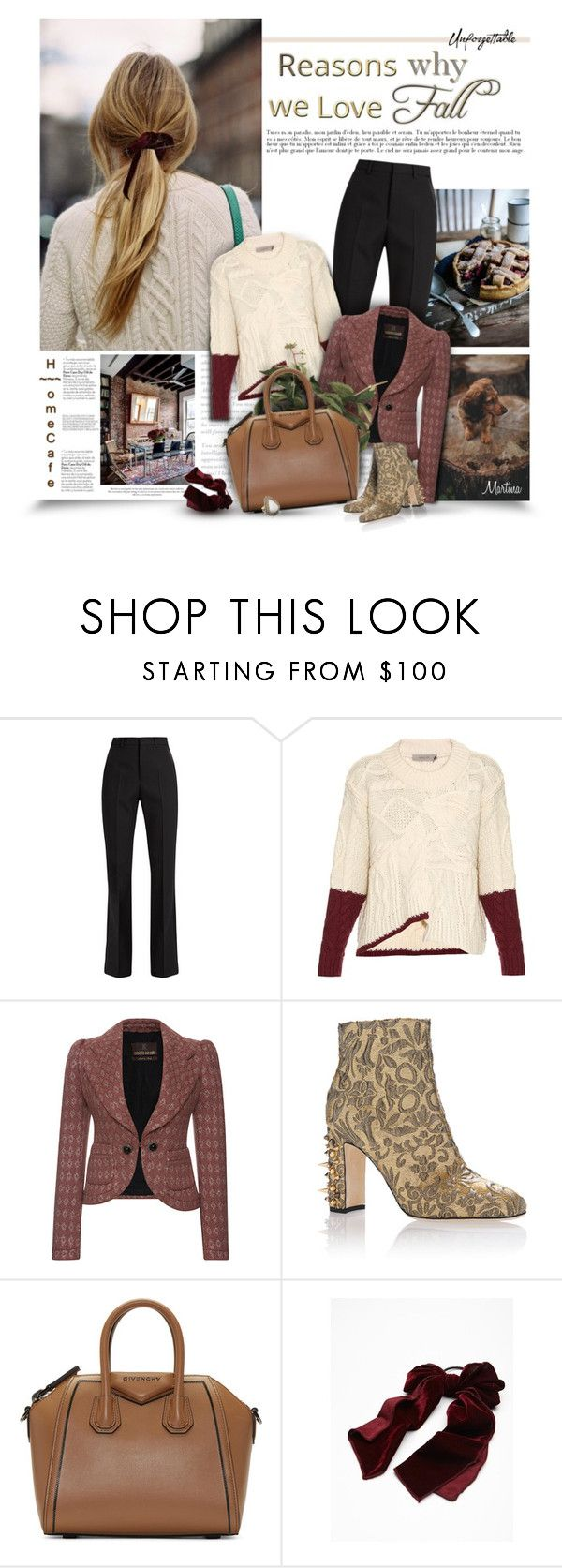 """""""Reasons Why  We Love Fall"""" by thewondersoffashion ❤ liked on Polyvore featuring Otö, Yves Saint Laurent, Preen, Roberto Cavalli, Dolce&Gabbana, Givenchy, Free People and Native Gem"""