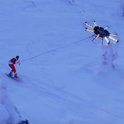 Casey Neistat and his custom Human Flying Drone go snowboarding in Finland... through the town, through the woods, down the slopes, and flies off into the horizon by drone!