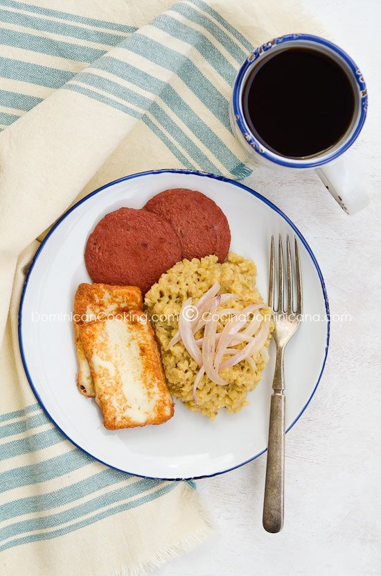 Mangu... mashed plantain, a staple in the Dominican diet! It's healthy, inexpensive, & easy to make... simply mash the boiled plantains as you would mash potatoes! It's fantastic with eggs & pan fried salami for breakfast, or picadillo or pork for dinner. I even just like it as my main dish with cheese melted on top!