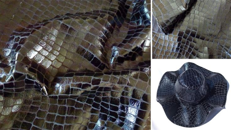 Sew a hand made Winter hat with fake crocodile skin PVC. Great sewing patterns for hats from FishPetals Do Fly