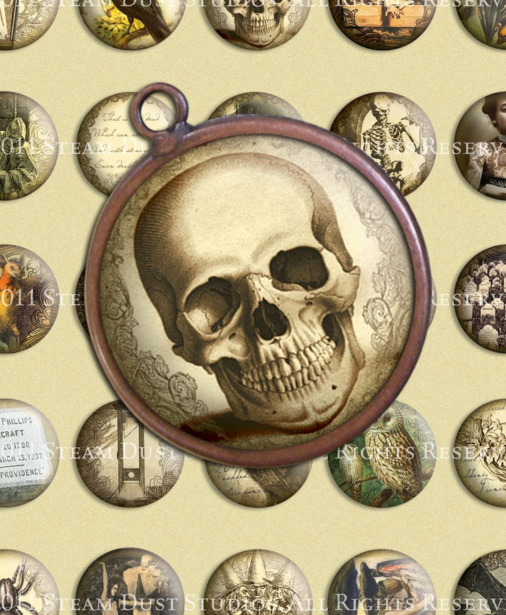 Victorian/Goth/Poe/Lovecraft/Skulls/Vampire Bats/Owls & more - 30mm Round Images - Digital Collage Sheet. $3.90, via Etsy.